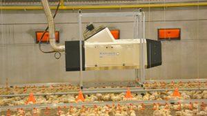 Nagrzewnica gazowa Winterwarm DXC do ogrzewania budynków inwentarskich ferm drobiu.